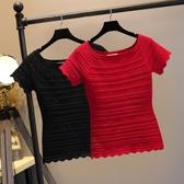 翡翠衣帛針織T恤女短袖韓范修身打底衫一字領短款上衣女春夏新款