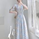 淺色碎花洋裝高個子女裝170氣質收腰長裙夏季到腳踝短袖仙女裙 黛尼時尚精品