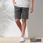 【JEEP】簡約素面戶外休閒彈性短褲 灰色 (合身版)