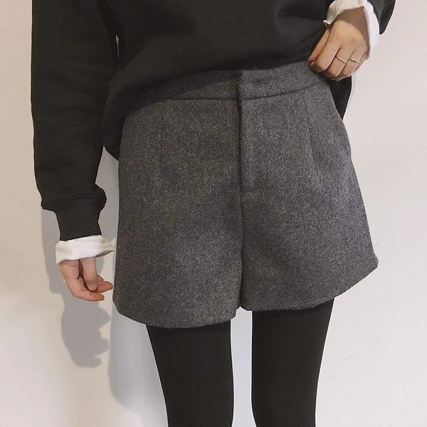 (全館一件免運)DE shop~(GH-9832)毛呢加厚休閒寬鬆顯瘦學生百搭外穿A字西裝短褲