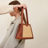 設計梯型編織拼接水桶手提包包女2020新款百搭單肩斜挎包