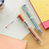 六色按壓圓珠筆 文具 學生 上班族 按動 多功能 辦公用品 文書 筆芯【P241】慢思行