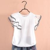 女童短袖上衣 女童短袖t恤夏裝兒童正韓洋氣半袖體恤女孩學生白色上衣-Ballet朵朵