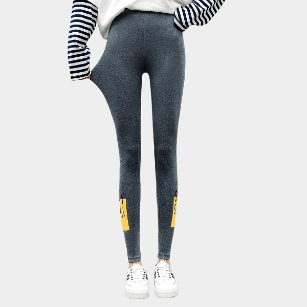 棉褲--休閒舒適彈性鬆緊高腰撞色印花修身顯瘦內搭褲(黑.灰XL-3L)-R229眼圈熊中大尺碼