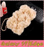 【萌萌噠】三星 Galaxy S7 / S7Edge 韓國立體米色玫瑰保護套 帶掛鍊側翻皮套 支架插卡 手機殼  硬殼