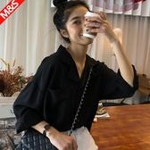 春秋寬鬆V領純色上衣洋氣黑色雪紡襯衫女西裝領設計感小眾