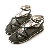 amai《12星座 - Gemini雙子座》希臘風交叉立體繞帶夾腳涼鞋 黑
