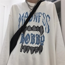 長袖T恤 復古暗黑系嘻哈牙齒潮流長袖T恤 男女潮