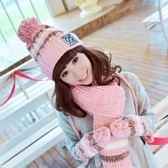 圍巾+毛帽+手套羊毛三件套-韓版冬季加絨加厚可愛防寒配件組合6色71an1[巴黎精品]