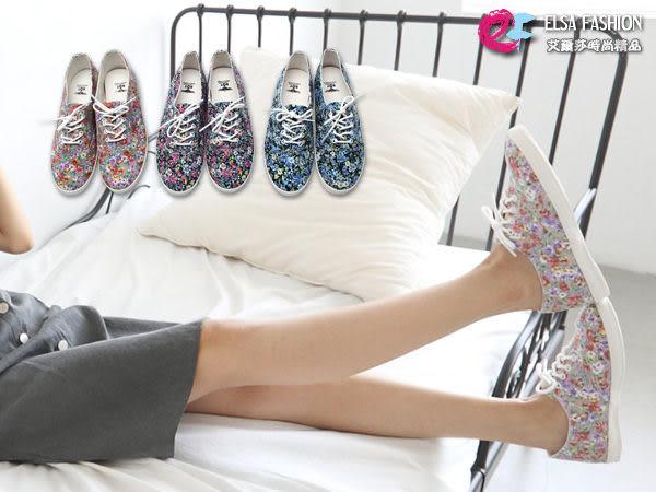 *艾爾莎*【TS550015】韓國空運.浪漫碎花綁帶平底帆布鞋