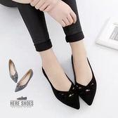 [Here Shoes]2色 典雅絨布簍空蝴蝶結芭蕾款尖頭鞋 尖頭平底包鞋 娃娃鞋─AA1-6