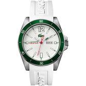 Lacoste Seattle 新潮流運動時尚腕錶-白x綠/44mm L2010802