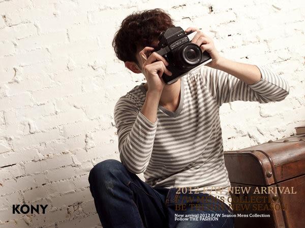 KONY【NN8428】 型男潮流嚴選時尚經典款橫條棉TEE- 現+預