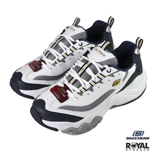 Skechers D'ltes 3.0 白/藍色 皮質 老爹 休閒鞋 男款 NO.B1365【新竹皇家 52684WNVG】