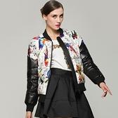 羽絨夾克-棒球領時尚拼接印花短版女外套73pv35[巴黎精品]