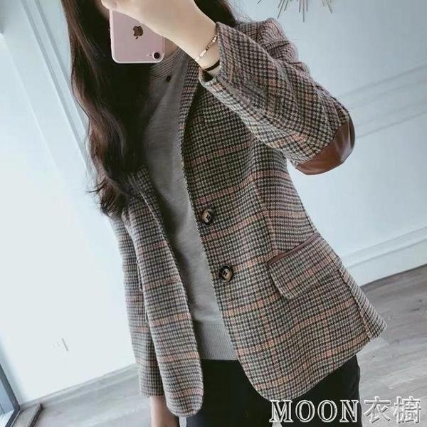 西裝外套女 毛呢格子小西裝外套女秋冬新款短款韓版大碼呢子外套女 快速出貨