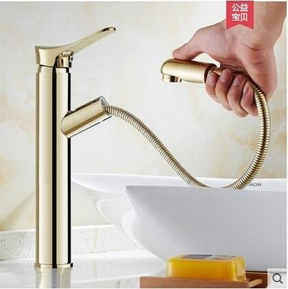 金色加高款歐式全銅主體抽拉式冷熱面盆水龍頭洗手臉盆伸縮龍頭