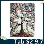 三星 Tab S2 9.7 T810/815 彩繪簡約保護套 超薄側翻皮套 卡通塗鴉 支架 插卡 磁扣 平板套 保護殼