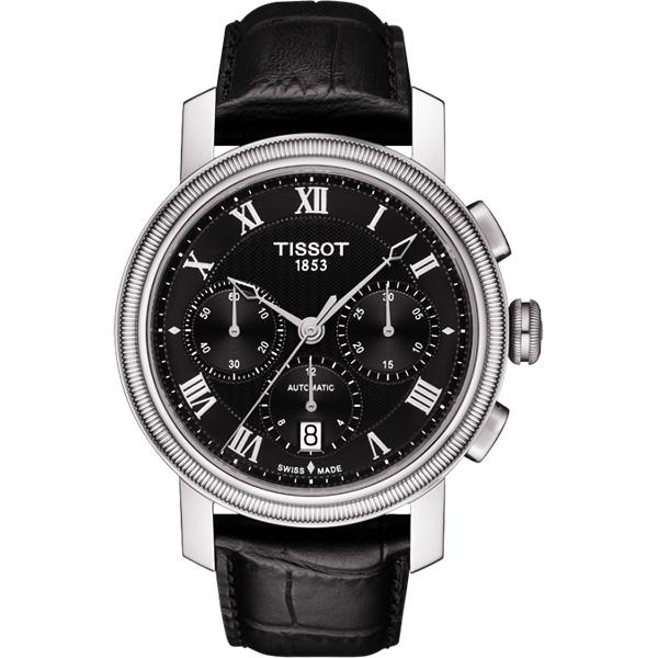 TISSOT 天梭 Bridgeport 羅馬計時機械手錶-黑/42mm T0974271605300