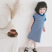 *╮小衣衫S13╭*夏季女童海軍藍條紋無袖背心連身裙1090316
