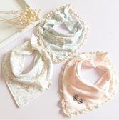 【春季上新】 女寶寶三角口水巾純棉嬰幼兒童圍嘴兜蕾絲花邊雙層按扣圍巾韓版