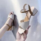 涼鞋-涼鞋女夏新款韓版百搭中跟粗跟一字扣帶仙女風羅馬高跟鞋女鞋