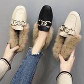 豆豆鞋子網紅外穿毛毛鞋女2019秋冬季新款一腳蹬平底加絨棉瓢鞋潮