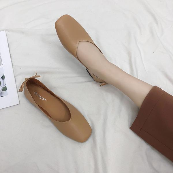 淺口單鞋女 春2019新款方頭豆豆奶奶鞋平底蝴蝶結複古百搭韓版女鞋