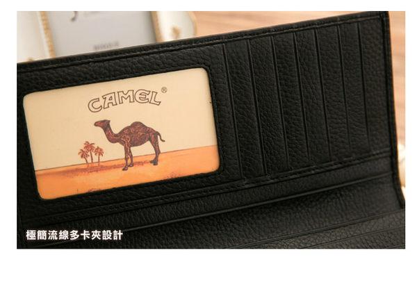 CAMEL - Ease牛皮系列12卡1照左右翻長夾-咖色