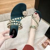 快速出貨 粗跟夾趾 涼鞋水鉆珍珠顯瘦百搭兩穿涼拖中跟休閒 涼鞋沙灘