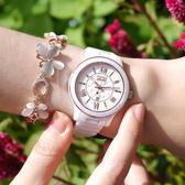 NATURALLY JOJO / JO96947-80R / 氣質典雅 菱格時尚 藍寶石水晶玻璃 日期顯示 陶瓷手錶 白色 36mm