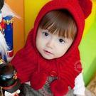 小紅帽造型毛線球帽套脖 圍脖 斗篷 .披風 外套 新年聖誕紅  橘魔法 聖誕節保暖推薦 現貨
