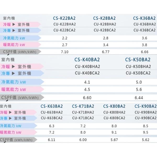 《全省含標準安裝》Panasonic 國際牌【CS-K28BA2/CU-K28BCA2】《變頻》分離式冷氣 優質家電