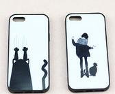 [24hr-現貨快出] 新款女孩與貓 插畫 掛繩 手機殼 蘋果 iphone 6/ i6s / plus 全包 軟殼 掛繩 潮 簡約