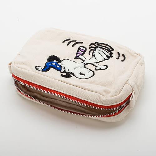 《sun-star》SNOOPY帆布立體毛巾繡多功能收納包(派對白)★funbox生活用品★_OP48357