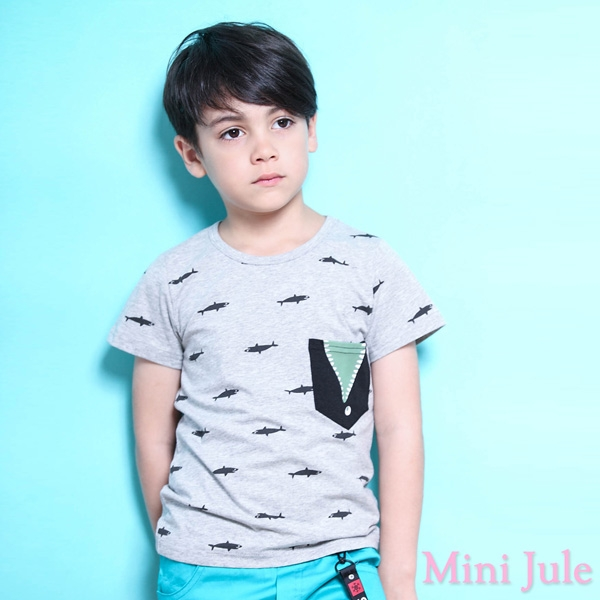 Mini Jule 男童 上衣 鯊魚印花單口袋短袖T恤(灰)