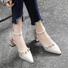 包頭時裝涼鞋女2021年新款夏季女鞋中跟百搭一字帶粗跟高跟鞋【快速出貨】