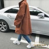 風衣外套秋季寬鬆夾克中長款青少年帥氣休閒大衣【繁星小鎮】