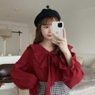 紅色上衣女復古法式春秋季新款設計感小眾長袖雪紡娃娃領襯衫 【全館免運】