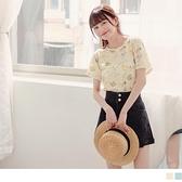 《AB15690-》浪漫夏日花卉彈性短袖T恤/上衣 OB嚴選
