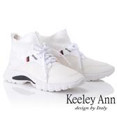 2018秋冬_Keeley Ann率性街頭~中筒襪套式綁帶休閒鞋(白色) -Ann系列
