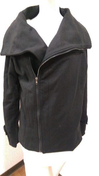 大衣外套 韓 秋冬 毛呢翻領 造型拉鍊 短版外套*27小舖【現貨】