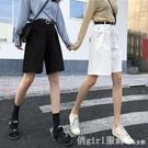 工裝五分短褲女寬鬆港風白色中褲2020新款潮高腰直筒闊腿休閒褲夏 元旦狂歡購