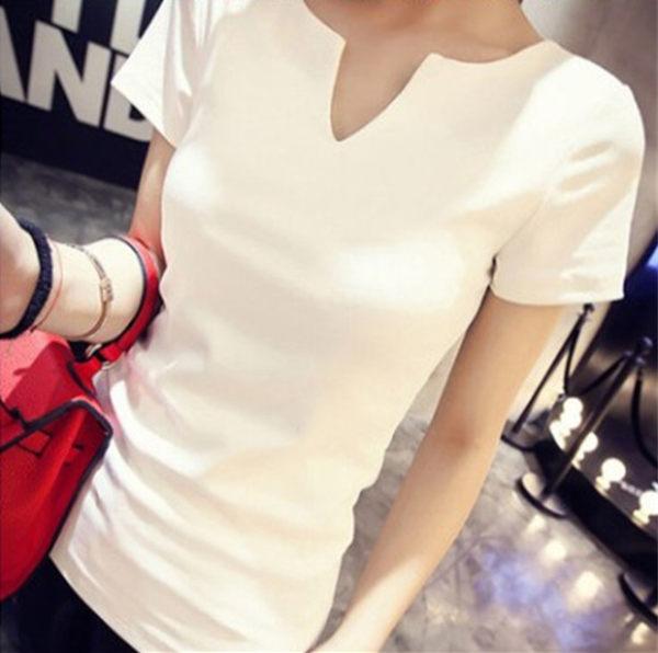 短袖 V領 T恤 韓版 春夏 修身 緊身 棉質 打底衫