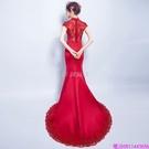 (45 Design)  客製化顏色尺寸領新娘長款婚紗晚宴年會演出主持人禮服16