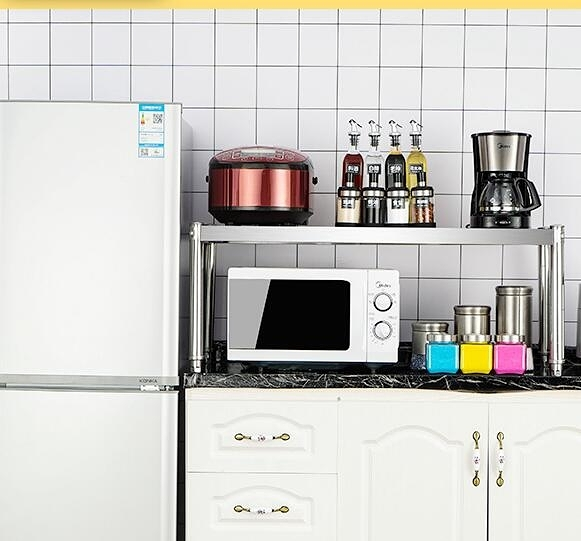 微波爐置物架 層廚房置物架不銹鋼微波爐家用桌面調料放鍋單層灶臺【快速出貨八折優惠】