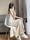 洋裝 女2021春夏V領開叉過膝長裙內搭打底法式氣質裙子【618特惠】