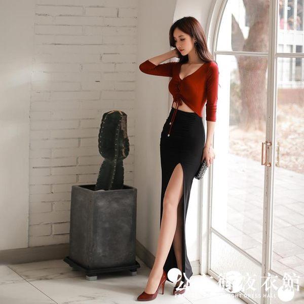 早秋正韓女氣質性感V領繫帶修身包臀撞色開叉洋裝連身裙子