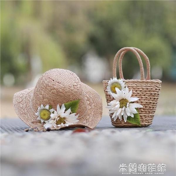 編織包 韓版夏天單肩斜跨手提花朵草編包沙灘包草包藤編包編織女包包 618大促銷