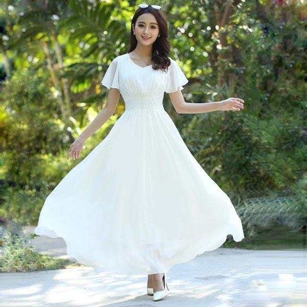 現貨出清 短袖雪紡洋裝夏裝中長款收腰波西米亞沙灘裙海邊度假大擺裙 9-17